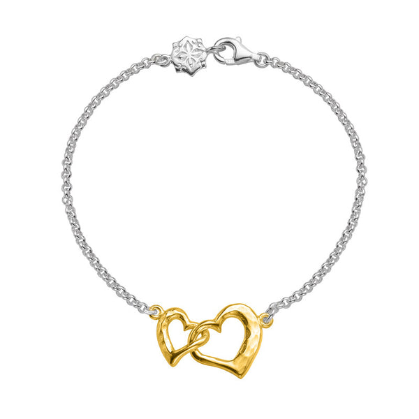 Sterling Silver & 18ct Gold Vermeil Entwined Love Hearts Bracelet