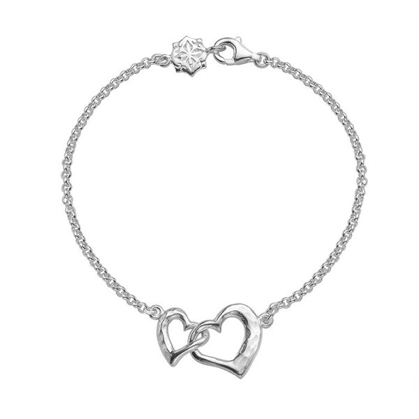 Sterling Silver Entwined Love Hearts Bracelet