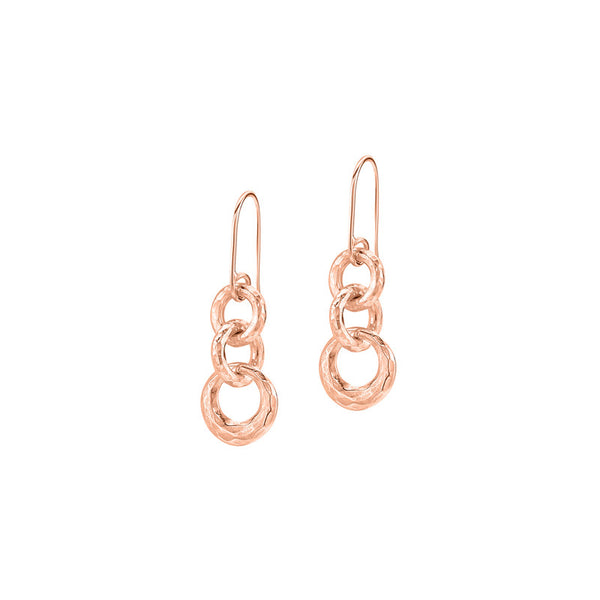 18ct Rose Gold Vermeil Entwined Triple Circle Earrings