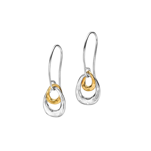 Sterling Silver & 18ct Gold Vermeil Entwined Open Double Oval Earrings