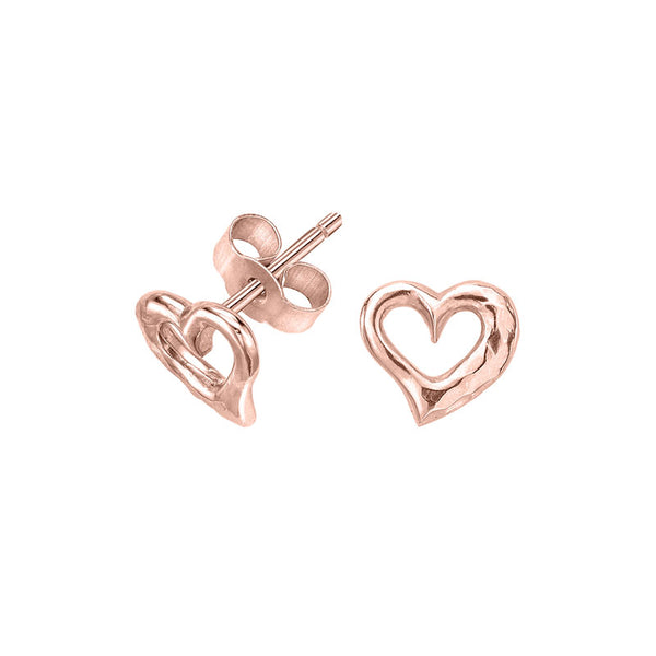 18ct Rose Gold Vermeil Entwined Open Heart Stud Earrings