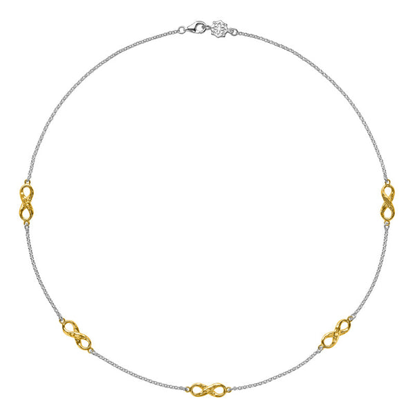 Sterling Silver & 18ct Gold Vermeil Entwined Infinity Necklace
