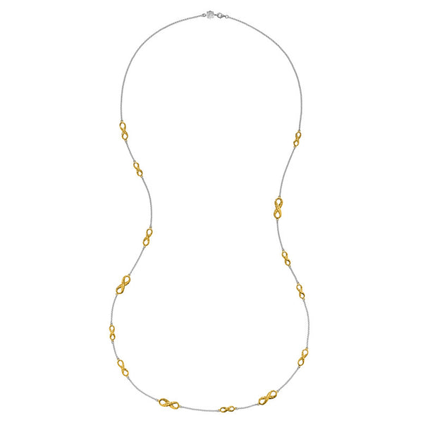 Sterling Silver & 18ct Yellow Gold Vermeil Entwined Long Infinity Necklace