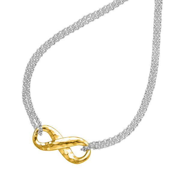 Sterling Silver & 18ct Gold Vermeil Entwined Infinity Pendant