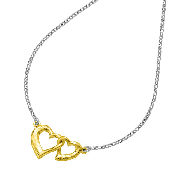 Sterling Silver & 18ct Gold Vermeil Small Entwined Love Hearts Pendant