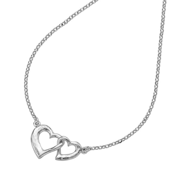 Sterling Silver Small Entwined Love Hearts Pendant