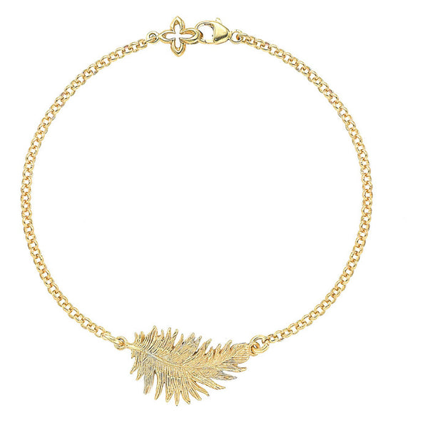 18ct Gold Vermeil Feather Bracelet