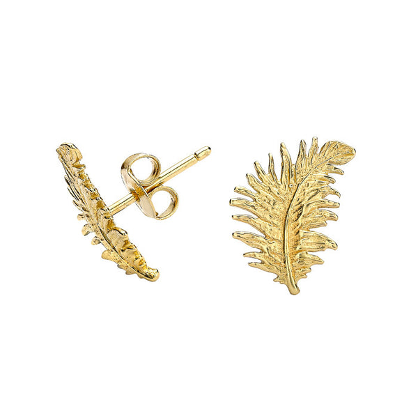Small 18ct Gold Vermeil Feather Stud Earrings