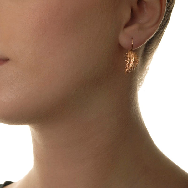 18ct Rose Gold Vermeil Medium Feather Drop Earrings