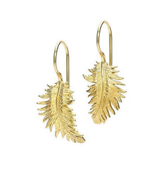 18ct Gold Vermeil Medium Feather Drop Earrings