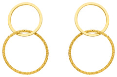 14ct Yellow Gold Entwined Circle Drop Earrings