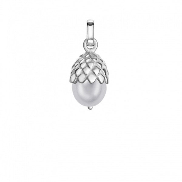Sterling Silver Dove Grey Pearly Acorn Charm