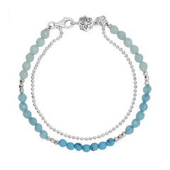 Sterling Silver Chalcedony, Apatite, Turquoise Bead Orissa Bracelet