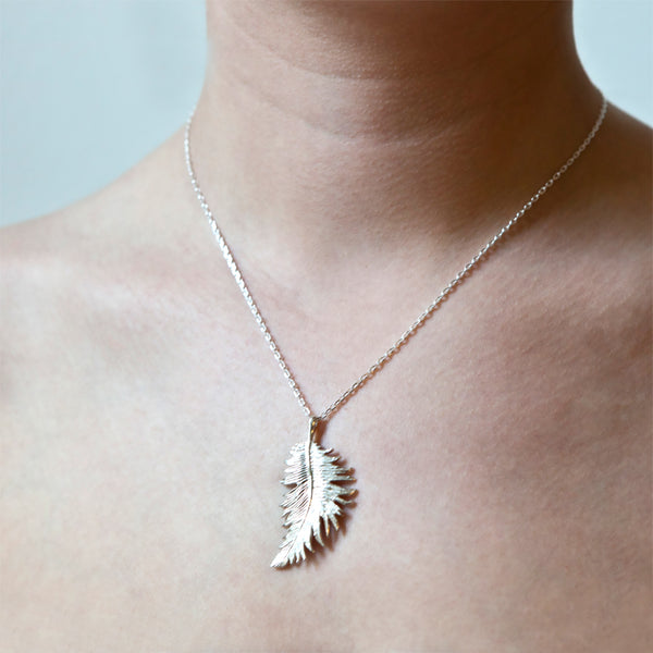 Sterling Silver Medium Feather Pendant