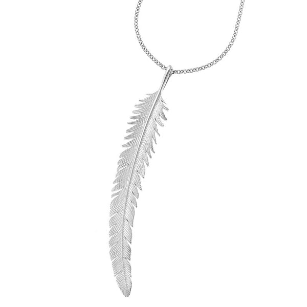 Sterling Silver Long Feather Pendant