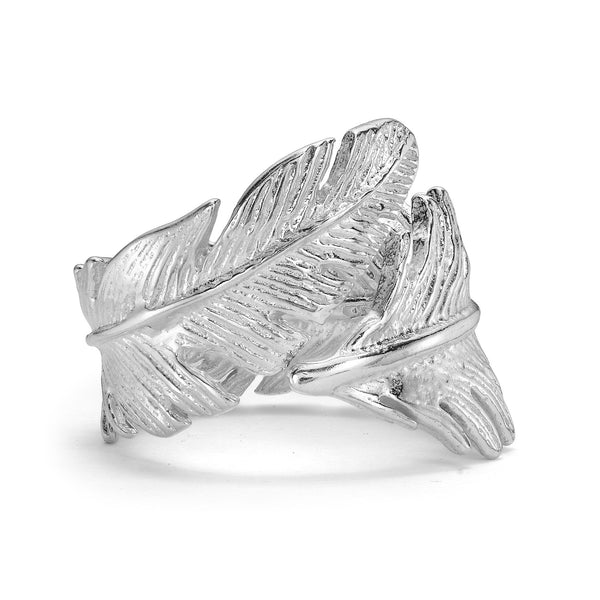 Sterling Silver Statement Feather Wrap Ring