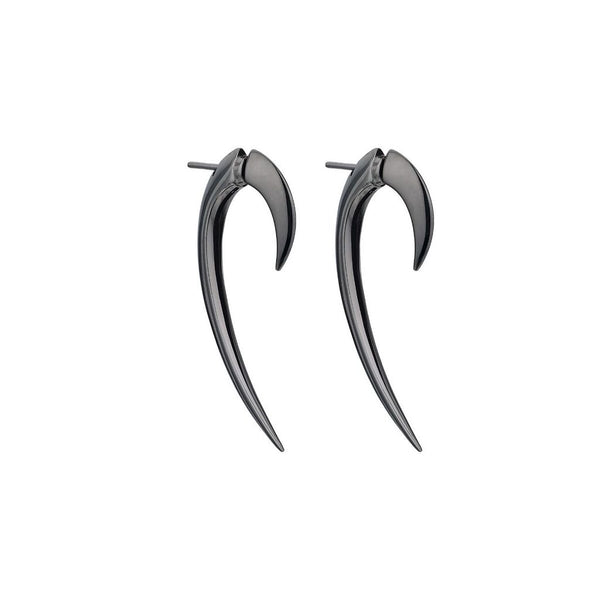 Silver Black Rhodium Hook Earrings
