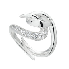 Silver Hook Diamond Ring