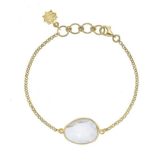 18ct Gold Vermeil Rock Crystal Jewel Bracelet