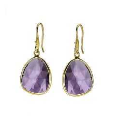 18ct Gold Vermeil Large Amethyst Jewel Drop Earrings
