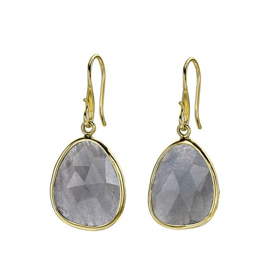 18ct Gold Vermeil Large Labradorite Jewel Drop Earrings