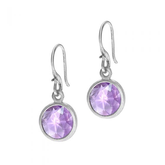 Sterling Silver Round Amethyst Jewel Drop Earrings