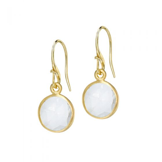 18ct Gold Vermeil Round Rock Crystal Jewel Drop Earrings