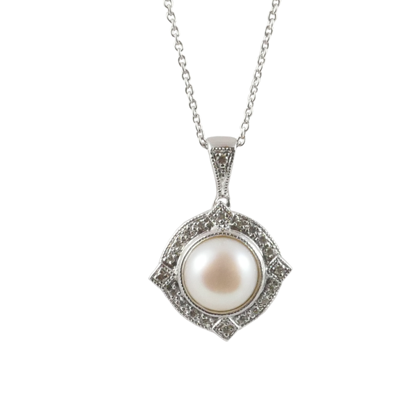 9ct White Gold Freshwater Pearl & Diamond Pendant, 0.11ct