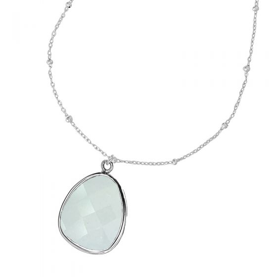 Sterling Silver Adjustable Chain & Chalcedony Jewel Pendant