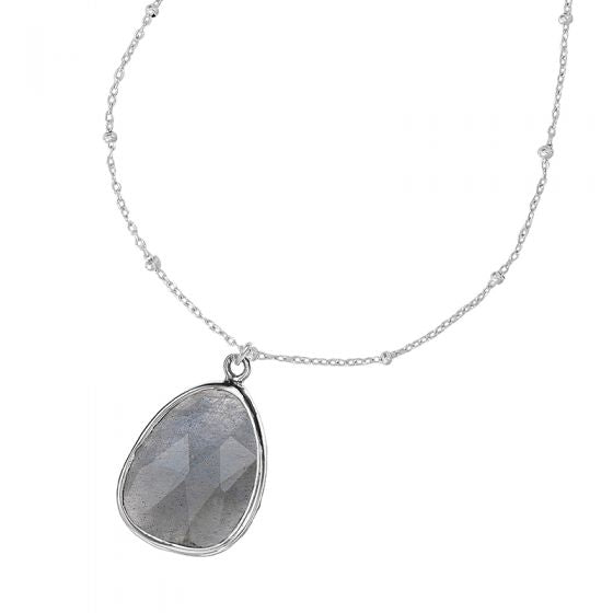 Sterling Silver Adjustable Chain & Labradorite Jewel Pendant