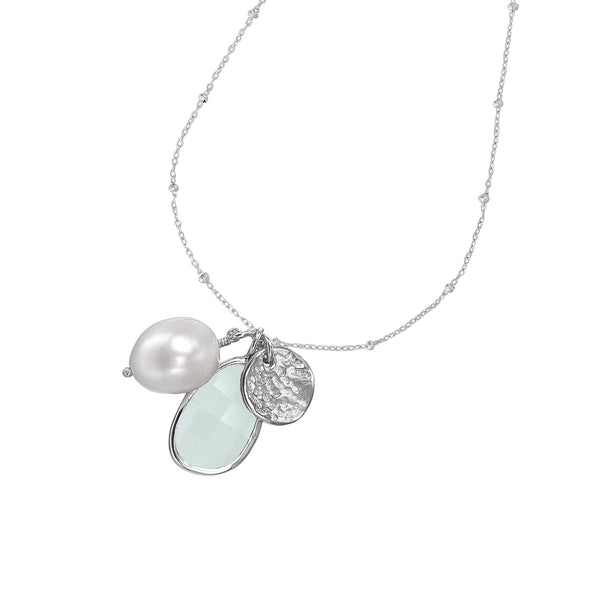 Sterling Silver Disc, Chalcedony & White Pearl Jewel Pendant