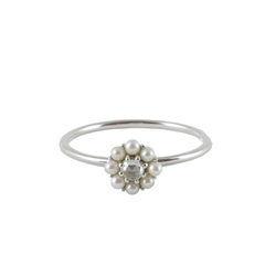 9ct White Gold Pearl & Diamond Cluster Ring, 0.06ct