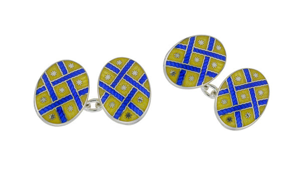 Yellow & Blue Enamel Silver Cufflinks