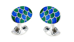 Green & Blue Enamel Silver Cufflinks