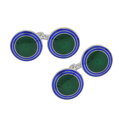 Blue & Green Enamel Silver Cufflinks