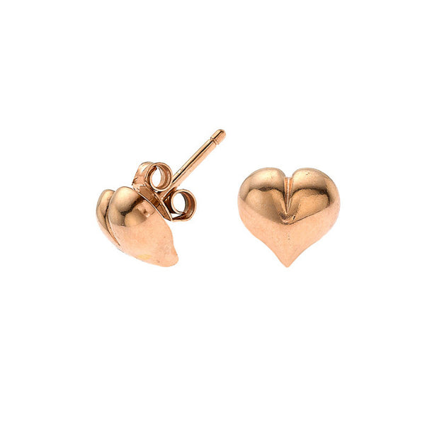 18ct Rose Gold Vermeil Heart Stud Earrings