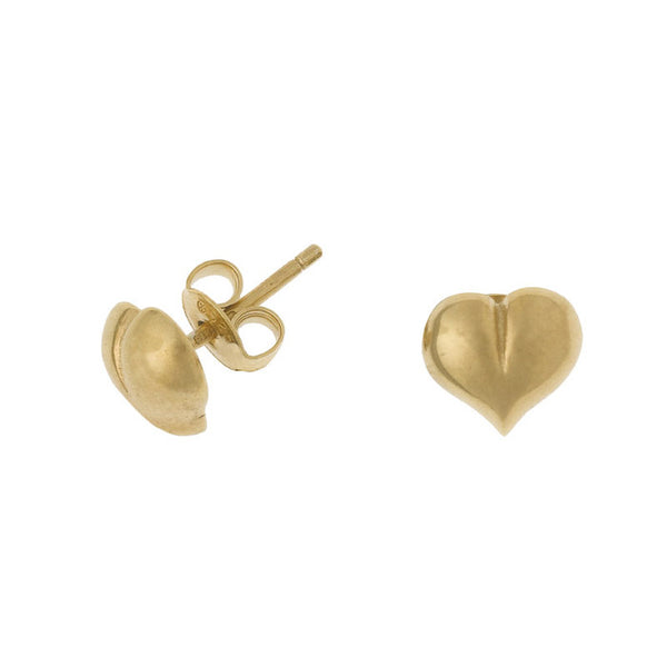18ct Gold Vermeil Heart Stud Earrings