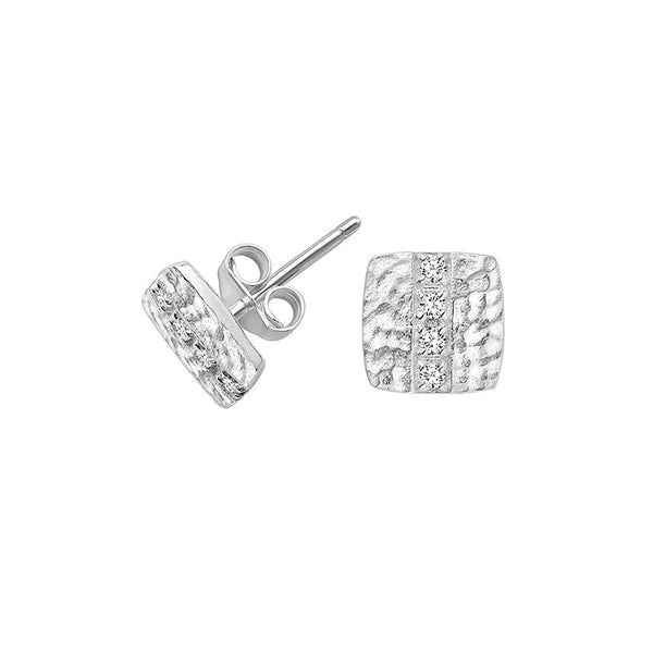 Sterling Silver & White Sapphire Square Lumiere Stud Earrings