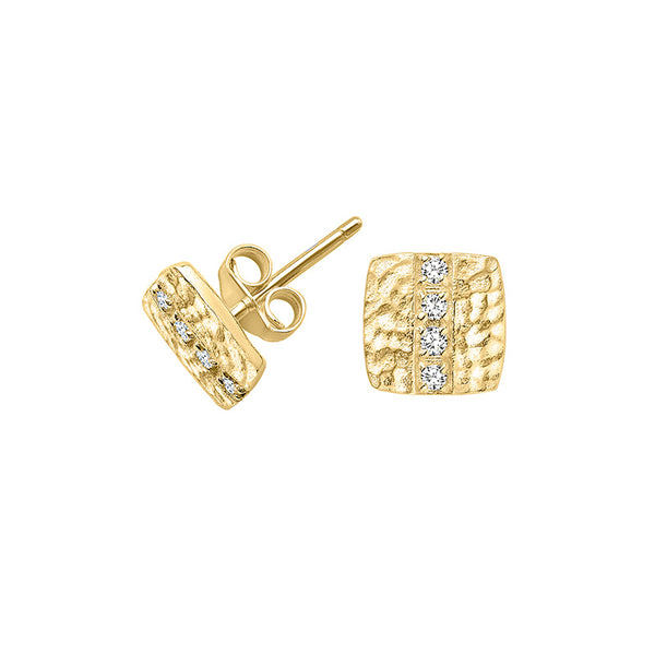 18ct Gold Vermeil & White Sapphire Square Lumiere Stud Earrings