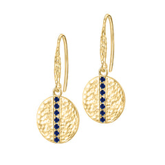 18ct Gold Vermeil & Blue Sapphire 13mm Round Lumiere Drop Earrings