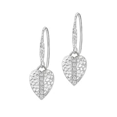 Sterling Silver & White Sapphire Heart Lumiere Drop Earrings