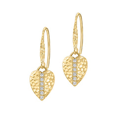 18ct Gold Vermeil & White Sapphire Heart Lumiere Drop Earrings