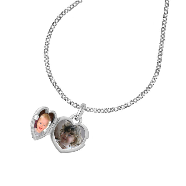 Sterling Silver & White Sapphire 15mm Heart Lumiere Pendant Locket