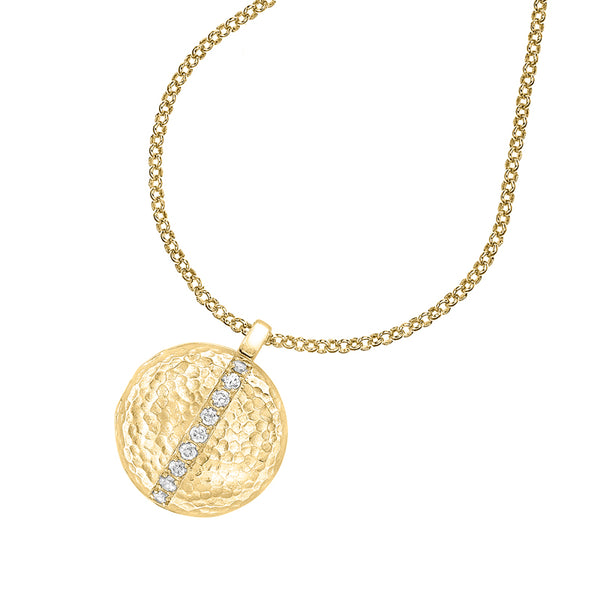 18ct Gold Vermeil & White Sapphire 16mm Round Lumiere Pendant Locket