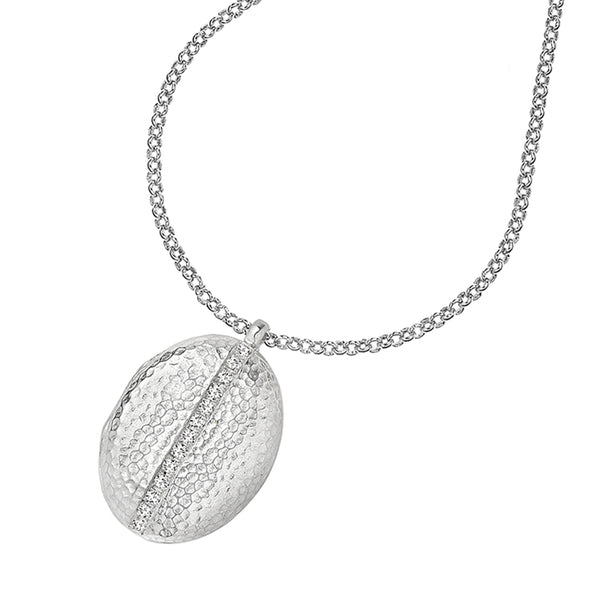 Sterling Silver & White Sapphire 26mm Oval Lumiere Pendant Locket