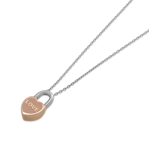 "18ct White & Rose Gold ""Love Lock"" Pendant"