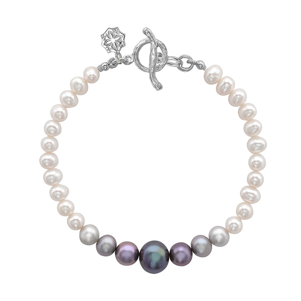 Sterling Silver Ombre Freshwater Pearl Bracelet