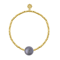 18ct Yellow Gold Vermeil Bead & Dove Grey Freshwater Pearl Bracelet