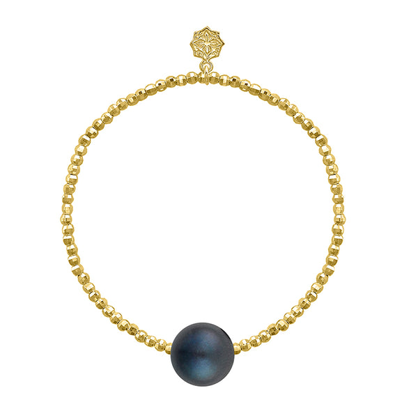18ct Yellow Gold Vermeil Bead & Peacock Freshwater Pearl Bracelet