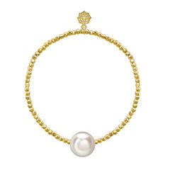 18ct Yellow Gold Vermeil Bead & White Freshwater Pearl Bracelet